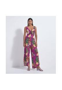 Macacão Pantalona Com Estampa Floral E Amarração   Blue Steel   Rosa   M
