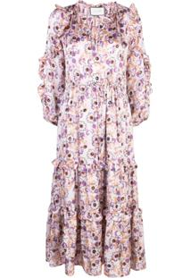 Alexis Vestido Isbel Com Estampa Floral - Roxo