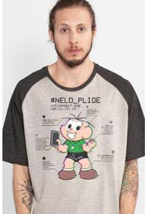 Camiseta Bandup! Raglan Turma Da Mônica Neld Plide Masculina - Masculino-Bege