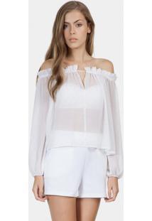 Blusa Ombro A Ombro Tecido Branco Off White - Lez A Lez