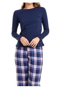 Pijama Longo Feminino Xadrez Flanelado (924/Ls223) 100% Algodão