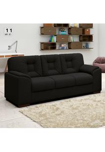 Sofá Com 3 Lugares Luan – Linoforte Moveis - Preto
