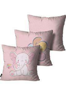 Kit Mdecore Com 3 Capas Para Almofada Infantil Elefante Rosa 45X45Cm