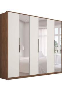 Guarda-Roupa Casal Com Espelho Atrice 6 Pt 6 Gv Ã'Mbar E Off White