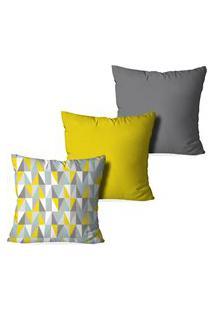 Kit 3 Capas Love Decor Para Almofadas Decorativas Geometric 3D Multicolorido Cinza