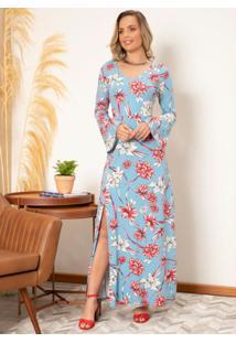 Vestido Longo Floral Azul Mangas Longas Em Sino
