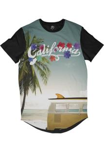 Camiseta Bsc Longline California Surf Kombi Sublimada Preta Azul