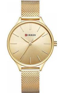 Relógio Feminino Curren Analógico Feminino - Feminino-Dourado