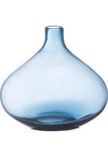 Vaso Em Vidro Fortune 21Cm Azul