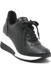 Tenis Sneaker Anabela Plataforma Via Marte Feminino - Feminino-Preto+Prata