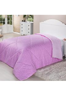 Edredom Dupla Face Solteiro 200 Fios 1.6X2.2M Pink Deluxe Plumasul