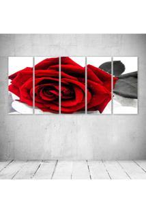 Quadro Decorativo - Rosa Vermelha - Composto De 5 Quadros - Multicolorido - Dafiti