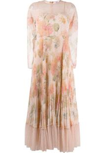 Red Valentino Red(V) Pleated Floral Dress - Rosa