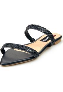 Sandalia Love Shoes Rasteira Bico Folha Strass Delicada Preto - Preto - Feminino - Dafiti