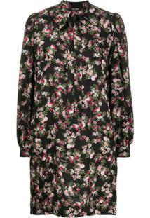 Twin-Set Vestido Reto Com Estampa Floral - Preto
