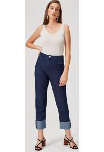 Calça Jeans Reta Barra Dobrada