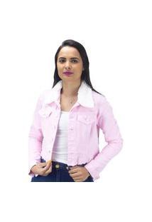 Jaqueta Naraka Gola De Pelo Jeans Rosa
