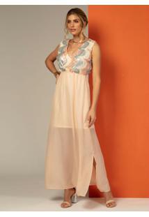 Vestido Longo Com Paetês No Decote Rosê