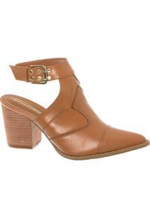 Sandal Boot Country Em Couro Caramelo E Salto Bloco Madeira