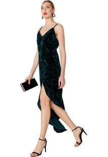 Vestido Midi Assimétrico Veludo
