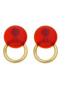 Brinco Redondo Dourado E Resina Vermelha.