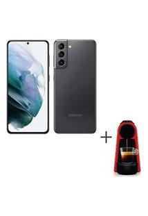 Samsung Galaxy S21 Cinza, 6,2, 5G, 128Gb - Sm-G991Bzajzto + Cafeteira Nespresso Essenza Mini Vermelho 110V - C30-Br