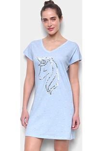 Camisola Hering Estampada Algodão - Feminino-Azul