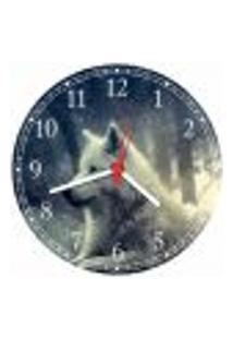Relógio De Parede Animais Lobo Branco Decorações Salas