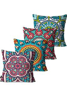 Kit Com 4 Capas Para Almofadas Decorativas Turquesa Mandalas 45X45Cm Pump Up