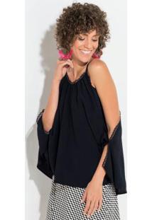 Blusa De Alça Preta Modelagem Morcego Quintess