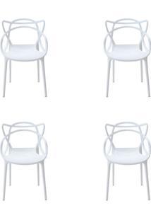 Kit 4 Peças Cadeira Allegra Masters De Polipropileno Rivatti Branca