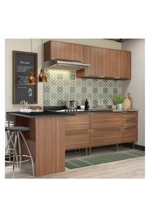 Cozinha Completa Multimóveis Com 5 Peças Calábria 5455 Nogueira Marrom