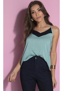 Blusa Com Alça E Recorte No Decote Verde