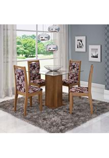 Conjunto De Mesa De Jantar Sophia Com Vidro E 4 Cadeiras Lívia Linho Savana E Floral Bordô