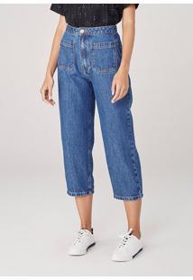 Calça Wide Leg Cropped Em Jeans - Azul