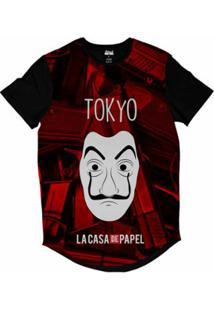 Camiseta Longline Attack Life La Casa De Papel Tokyo Sublimada Masculina - Masculino-Vermelho