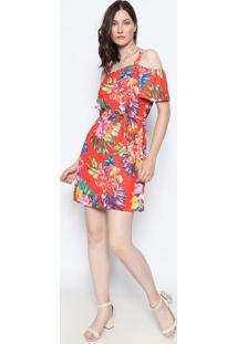 420edeb86 ... Vestido Ombro A Ombro Floral- Vermelho & Verdedimy