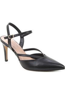 Scarpin Couro Shoestock Bico Fino Tiras Salto Alto - Feminino-Preto