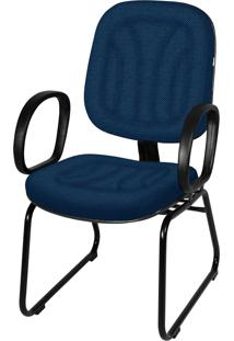 Cadeira Interlocutor Base Trapã©Zio C/ Braã§O Azul - Azul - Dafiti