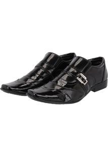 Sapato Social Leoppé Verniz Brilho Masculino - Masculino-Preto