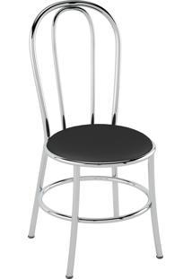 Cadeira Corino Preto/Cromado Pozza