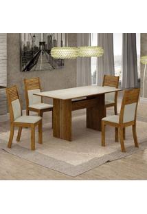 Conjunto De Mesa De Jantar Florença Iv Com 4 Cadeiras Havaí Linho Off White E Bege
