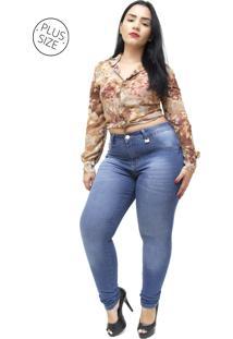 Calça Jeans Mc2 Plus Size Skinny Rochele Azul