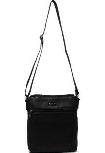 Bolsa Em Couro Transversal Recuo Fashion Bag Preto