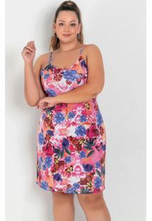 Vestido Floral Rosa Evasê Com Alças Plus Size