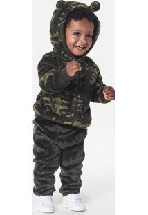 Conjunto Peluciado Bebê Menino Com Jaqueta E Calça Puc