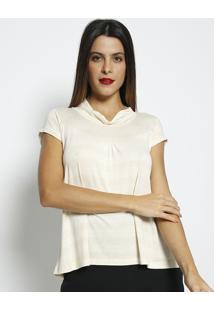 Blusa Com Franzidos Com Linho- Bege Claro- Maclumaclu