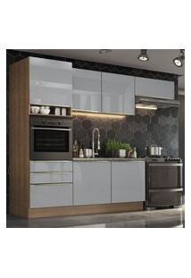 Cozinha Completa Madesa Lux Com Armário E Balcáo 6 Portas 3 Gavetas - Rustic/Cinza Cinza
