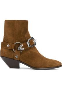 Saint Laurent Ankle Boot Com Fivelas - Marrom
