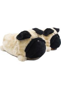 Pantufa Ricsen 3D Pug - Feminino-Bege